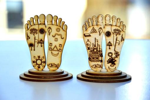 Radha Krishna Lotus Feets Wooden Statues
