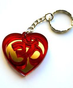 OM red Heart shape keychain 1