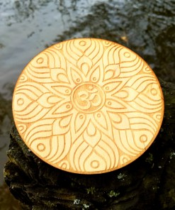 Om AUM wooden coaster laser cut and engraved