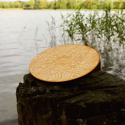 Om AUM wooden coaster laser cut and engraved 1