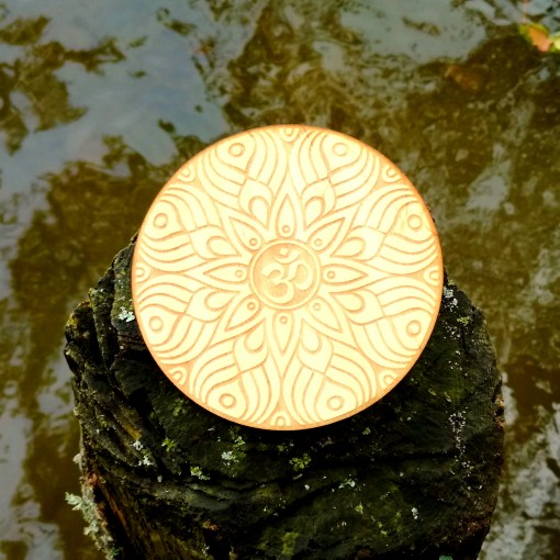 Om AUM wooden coaster laser cut and engraved 2