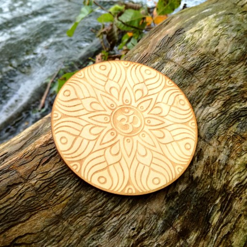 Om AUM wooden coaster laser cut and engraved 3