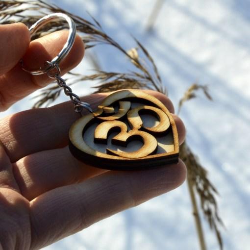 Om Heart Wooden Keychain 3