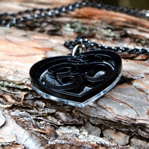 OM Necklace black acrylic- AUM Pendant with black chain 2