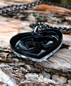OM Necklace black acrylic- AUM Pendant with black chain 2