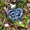 OM Necklace black acrylic- AUM Pendant with black chain 1