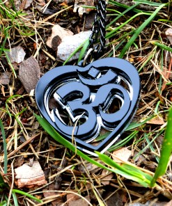 OM Necklace black acrylic- AUM Pendant with black chain 1