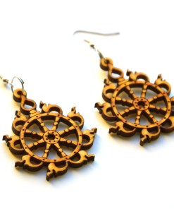 Sudarshana Chakra wooden earrings 2