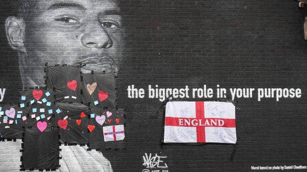 A Marcus Rashford mural in England