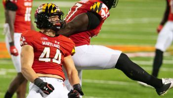 Maryland Terrapins linebacker Chance Campbell (44) reacts after the play during the fourth quarter against the Maryland Terrapins A quarter at Capital One Field at Maryland Stadium.