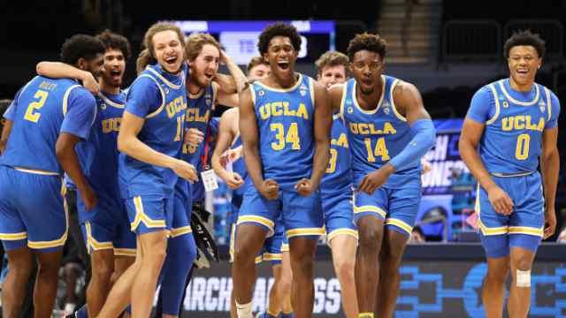 UCLA celebrates after beating Alabama