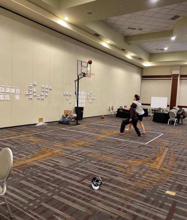 Baylor's makeshift hotel basketball court