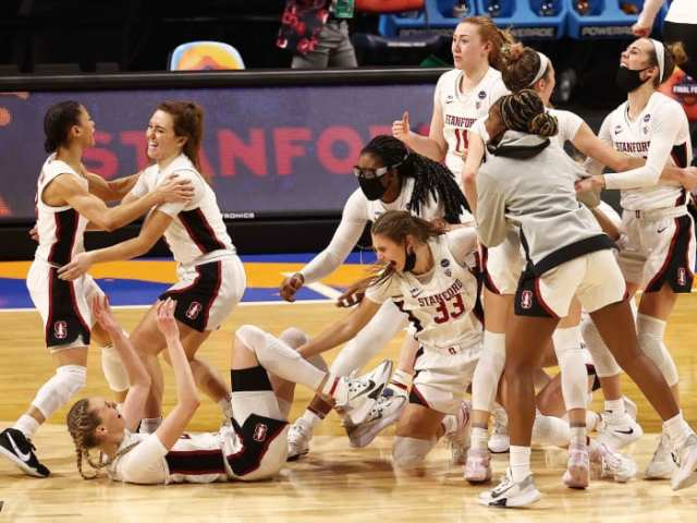 Stanford players celebrate after the final buzzer