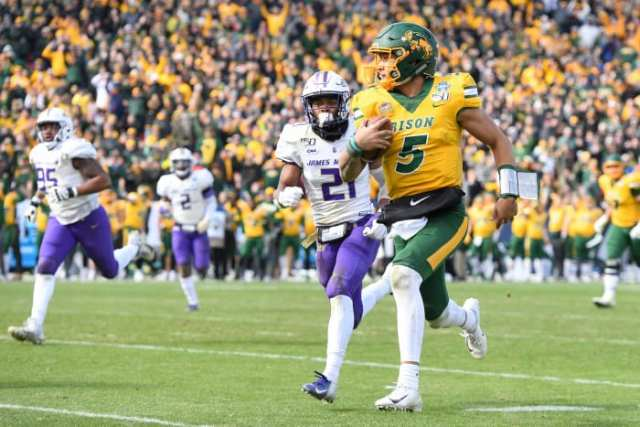 Trey Lance outruns a defender downfield against James Madison in 2019