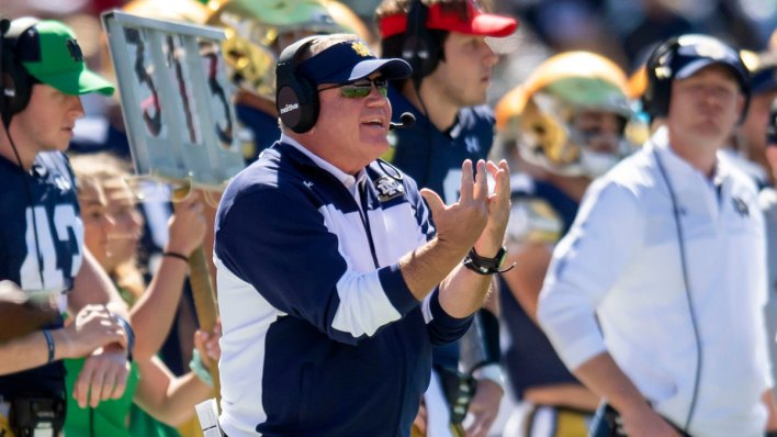 Notre Dame coach Brian Kelly on the sideline vs Wisconsin