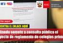 El Minedu somete a consulta pública el proyecto de reglamento de colegios privados[Clic Aquí]