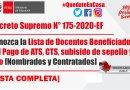 MINEDU.- Conozca Lista de Docentes Beneficiados del Pago de ATS, CTS, subisido de sepelio y luto [Nombrados y Contratados]   D.S. N° 175-2020-EF
