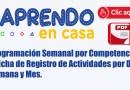 APRENDO EN CASA.- Programación Semanal por Competencias y Ficha de Registro de Actividades por Dia, Semana y Mes.