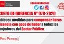 DECRETO DE URGENCIA Nº 078-2020.- Establecen medidas para compensar horas de licencia con goce de haber A todos los Trabajadores del Sector Público.