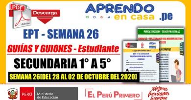 EPT SEMANA 26: Descarga Aquí Sesiones y Guiones adaptadas para el estudiante [Secundaria: 1° a 5°][Del 28 al 02 de octubre del 2020]
