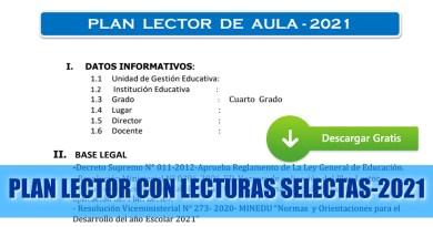 PLAN LECTOR CON LECTURAS SELECTAS-2021[Descarga aquí]