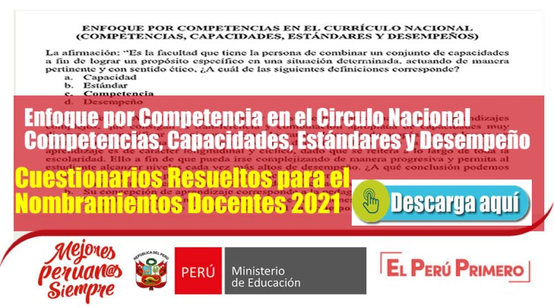 Enfoque por Competencia en el Circulo Nacional Competencias, Capacidades, Estándares y Desempeño [ Cuestionarios Resueltos para el Nombramientos Docentes 2021] [Descarga Aquí]