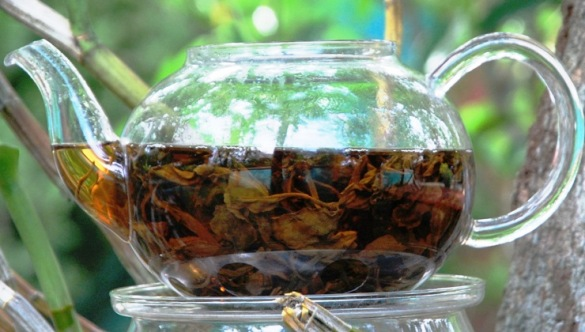 Thai Coconut Black Tea Blend infused behind glass
