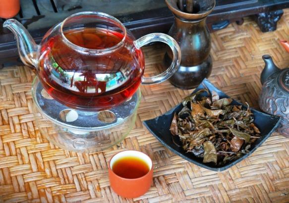 Coconut Black Thai Tea Blend savored hot, with wet tea leaves display