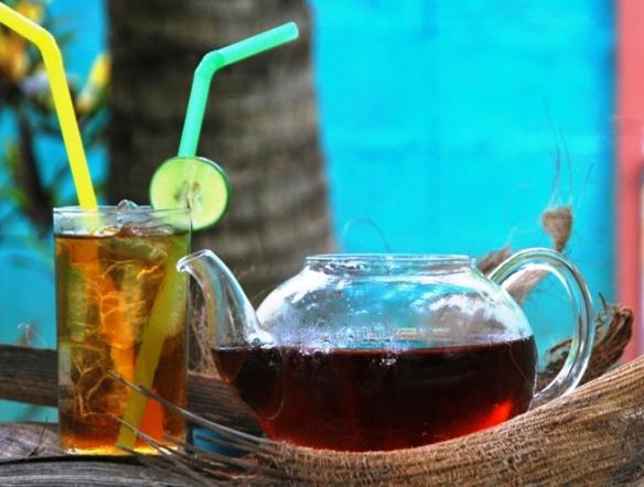 Coconut Black Thai Tea Blend enjoyed as an iced tea with a slice of lemon