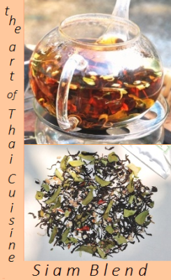 Black Thai tea blend reminiscent of Thai cuisine through addition of Thai spices, flowers and herbs