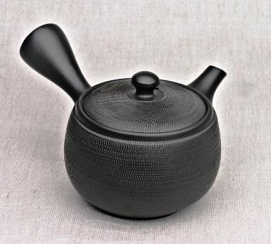 Japanese Teapot, black, 360ml, clay, handmade