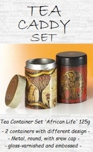 Tea Containers Set 'African Life' - metal, round, with screw cap