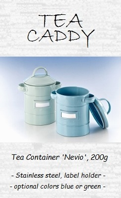 Tea Container 'Nevio', 200g - stainless steel, label holder