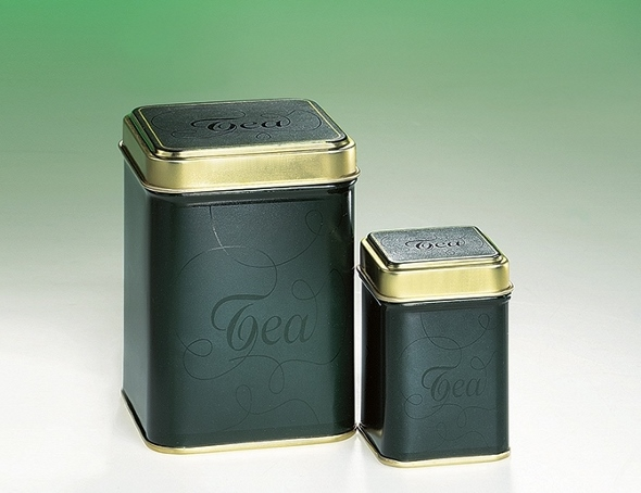 Classic Tea Box 'Avalon - metal, rectangular, black & gold