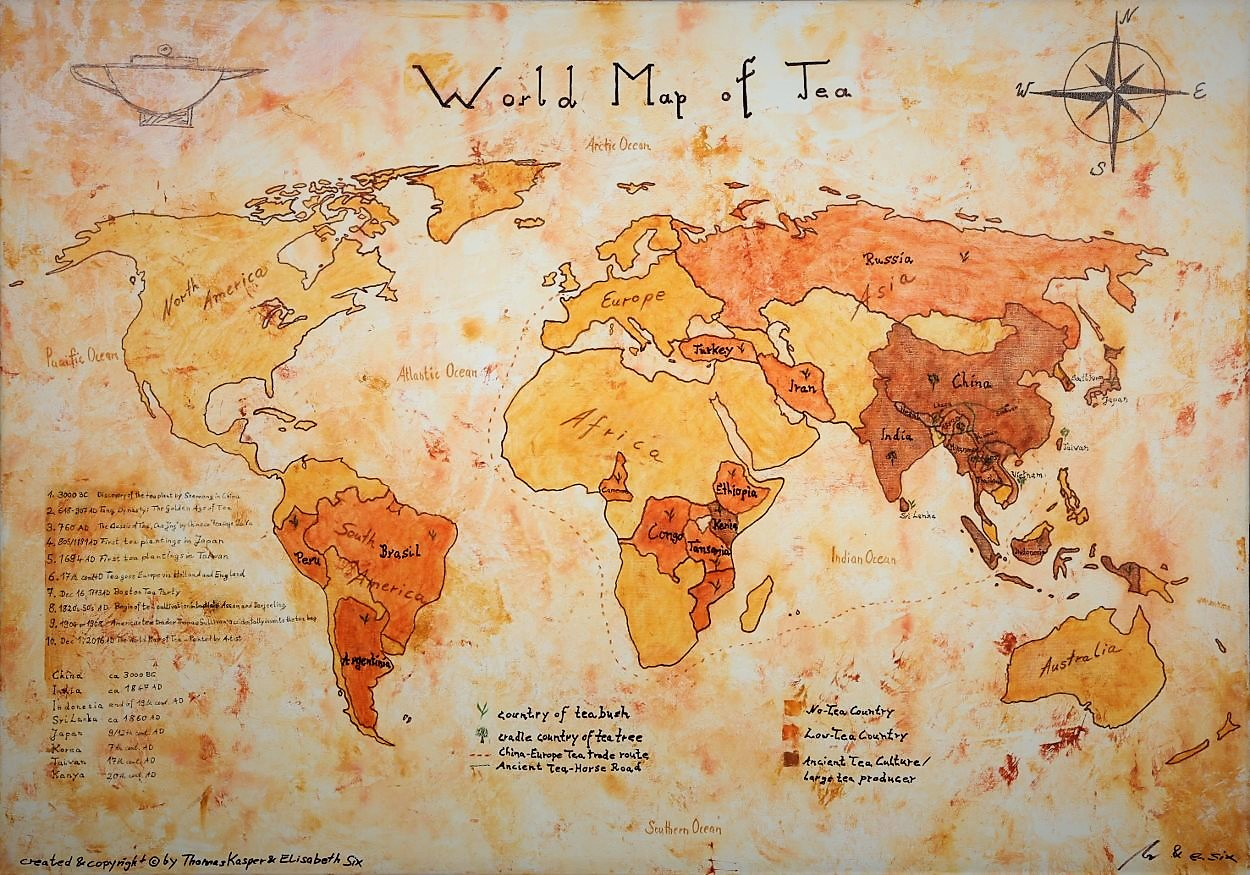 The world map of tea oil on canvas siam tea shop the world map of tea painted by artist gumiabroncs Gallery