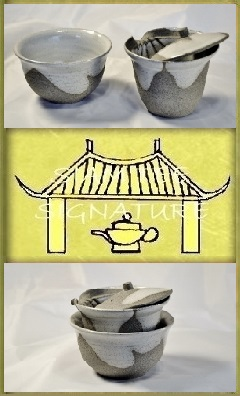SiamTeas Signature Shiboridashi Set 120ml (KK), set with tea cup, light grey with white interior and spontaneous glaze