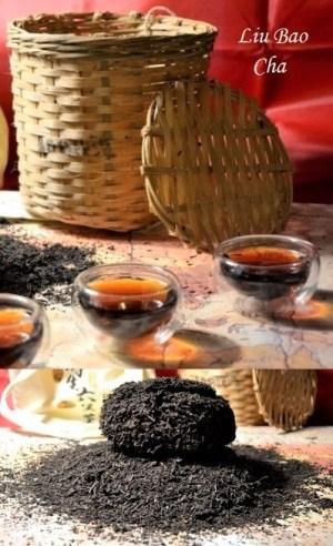 Liu Bao Dark Tea - Guangxi Hei Cha : postfermenting tea, stored for ripening in a woven bamboo basket wrapped in a jute sack
