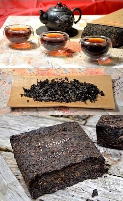Fu Zhuan Cha / Fuzhuan Dark Tea from Anhua county, Hunan province, southern China - inoculated with probiotic fungus Eurotium Cristatum