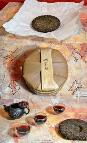 """Wokan Shan """"Gong Ting"""" Bing Cha Shou Pu Erh Tea - ripened, cake (= """"bing"""") shape pressed Pu Erh tea from Wokan Shan, Pu Erh"""