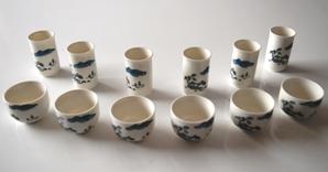 Chinesisches Riechbecher / Trinkschalen Set 'Sketches 2' für die Teeverkostung