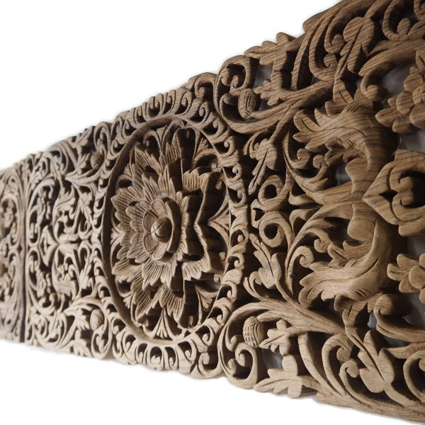 Pair Of Carved Panel Bed Headboard - Siam Sawadee