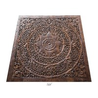 Carved Lotus Wall Art Panel Bed Headboard, Queen Headboard