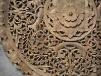 Circle Carved Wooden Wall Art Buddhist Flower Panel - Siam ...
