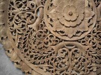 Buy Circle Carved Wooden Wall Art Buddhist Flower Panel Online