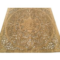 Contemporary Carved Wood Wall Art Bed Panel, Carved ...