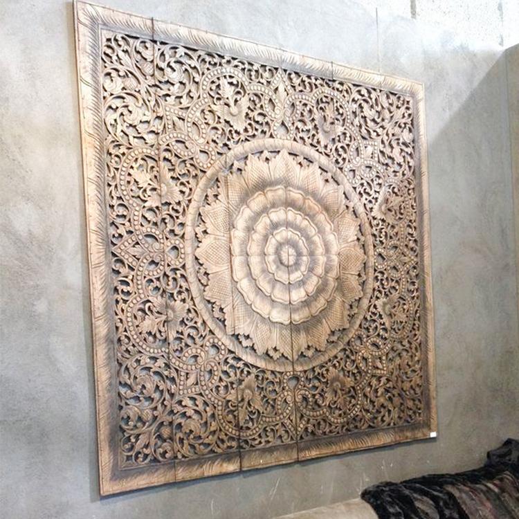 Buy Mandala Carved Wood Wall Art Panel, Grey Headboard Online