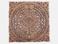 Buy Carved Wooden Lotus Wall Hanging Panel Online