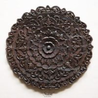 Thai Traditional Lotus Carved Wood Wall Panel - Siam Sawadee
