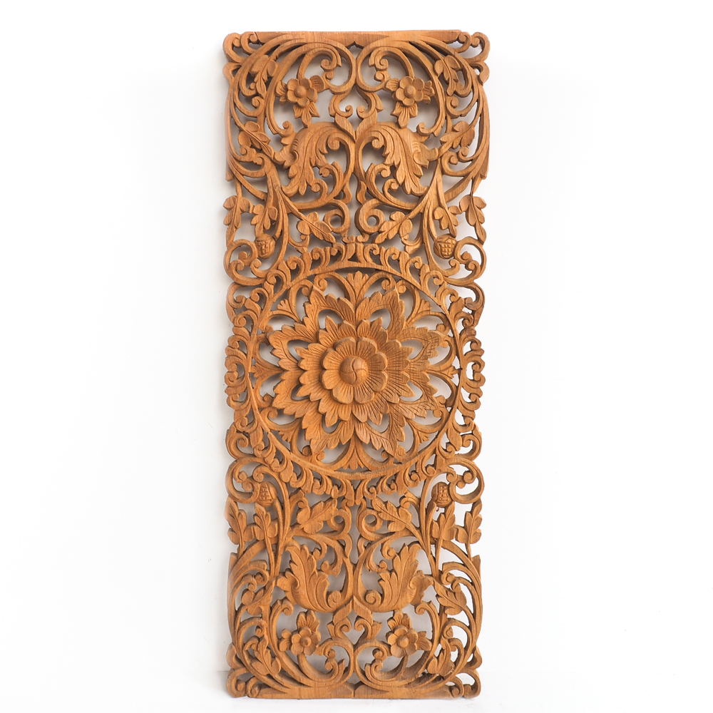 Buy Floral Carved Wooden Wall Art Panel Online