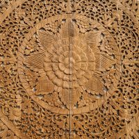 Buy Floral Hand Carved Wooden Wall Art Panel Online